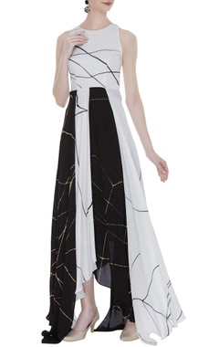 Vedika M Asymmetric block printed maxi dress