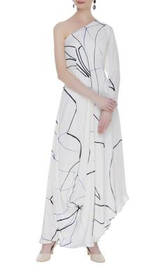 Vedika M Hand printed asymmetric maxi dress