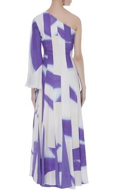 One side shoulder printed maxi dress