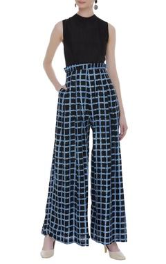 Vedika M Checkered ruffle waist jumpsuit