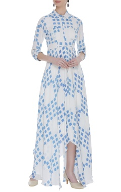 Vedika M Asymmetric block printed shirt dress