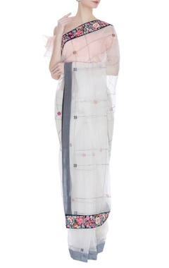 Thread embroidered sari with ruffle blouse