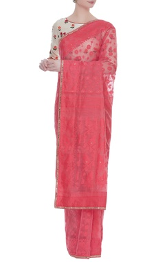 Jamdani sari with floral embroidered blouse