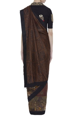 Printed sari with embroidered blouse