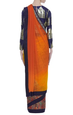 Shaded pattern sari with brocade blouse