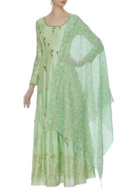 Printed & embroidered anarkali with dupatta