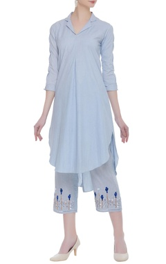Cotton tunic with embroidered pants
