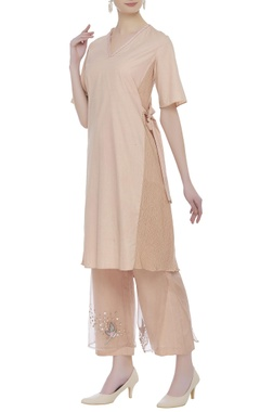 Wrap tunic with embroidered pants