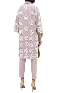 Flower embroidered long jacket