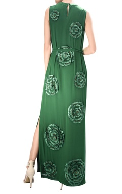 Flower embroidered maxi dress