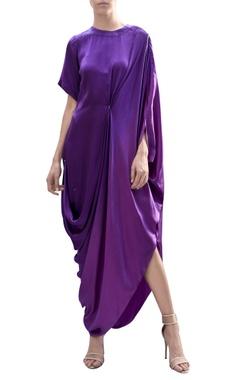 Draped ombre asymmetric dress
