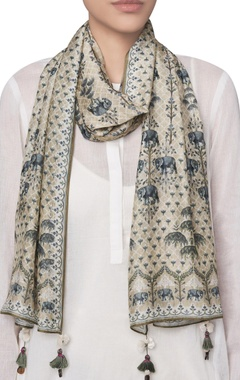 Elephant motif digital printed stole