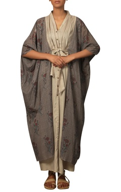 Long kaftan dress with printed jacket