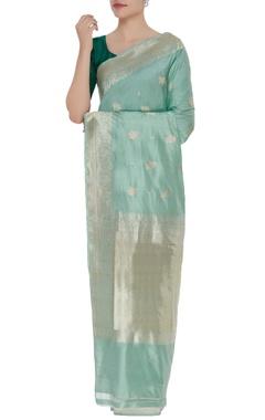 Pure mulberry silk banarasi rose sari & unstitched blouse