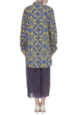 Poplin printed shirt with skirt
