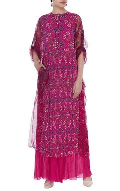 Printed cotton silk kurta with pants