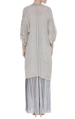 Button down kurta with pleated skirt