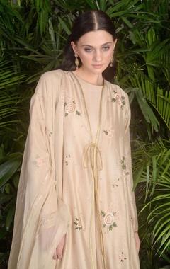 Kurta with embroidered open jacket, churidar & dupatta