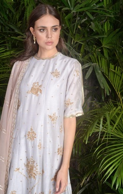 Embroidered flared kurta set