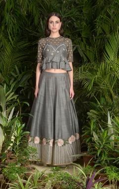 Peplum style top with embroidered lehenga skirt