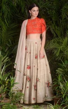 Sahil Kochhar Embroidered blouse with floral motif lehenga & dupatta