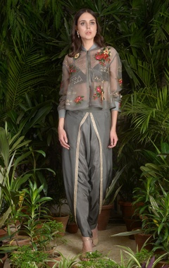 Sahil Kochhar 3D embroidered jacket with cowl pleated pants