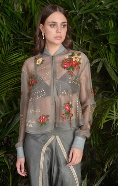 3D embroidered jacket with cowl pleated pants