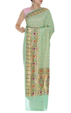 Handwoven georgette banarasi sari with unstitched blouse
