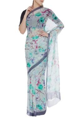 Flower digital printed sari & unstitched blouse