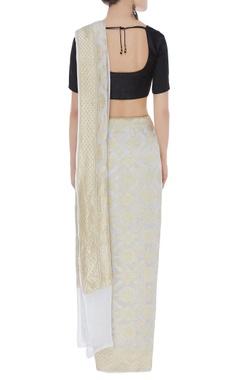 Gold handwoven sari & unstitched blouse