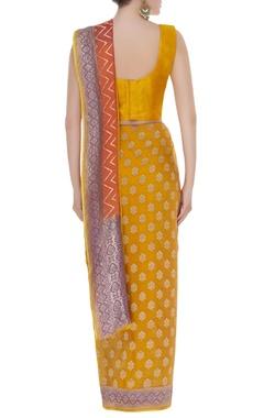 Banarasi handwoven chevron sari with unstitched blouse