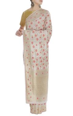 Handwoven sari with meenakari work & unstitched blouse