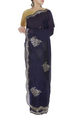 Embroidered scallop border sari & unstitched blouse