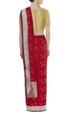 Handwoven silk sari with unstitched blouse