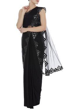 Reeti Arneja Leather applique blouse with sheer sari