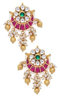 Floral & moon shape jhumka earrings