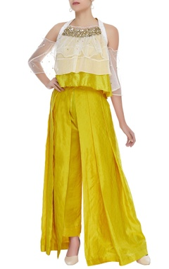 Layered cold shoulder top with palazzo pants