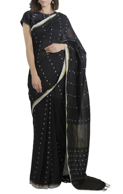 Booti work sari with embroidered blouse