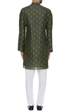 Sequin embroidered short kurta with pants