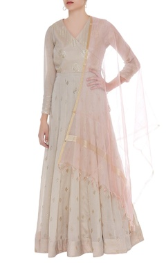Matsya Mukaish embroidered anarkali kurta with dupatta