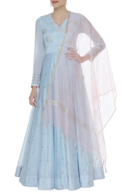Matsya Embroidered anarkali kurta with dupatta