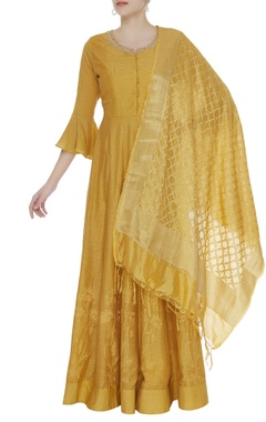 Matsya Gota embroidered anarkali kurta with banarasi dupatta