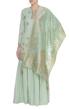Matsya Embroidered kurta with sharara & banarasi dupatta