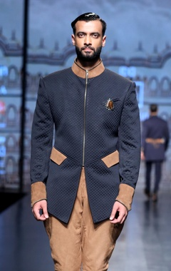 Quilted indo western jacket