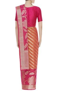 Banarasi sari with floral motifs & unstitched blouse