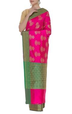 Handloom banarasi silk saree with unstitched blouse