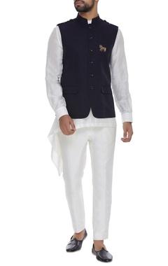 Nehru jacket with shoulder epaulette