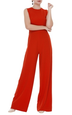Sleeveless moss crepe jumpsuit