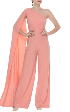 Elongated one shoulder sleeve jumpsuit