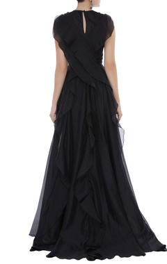 Organza frill detail gown